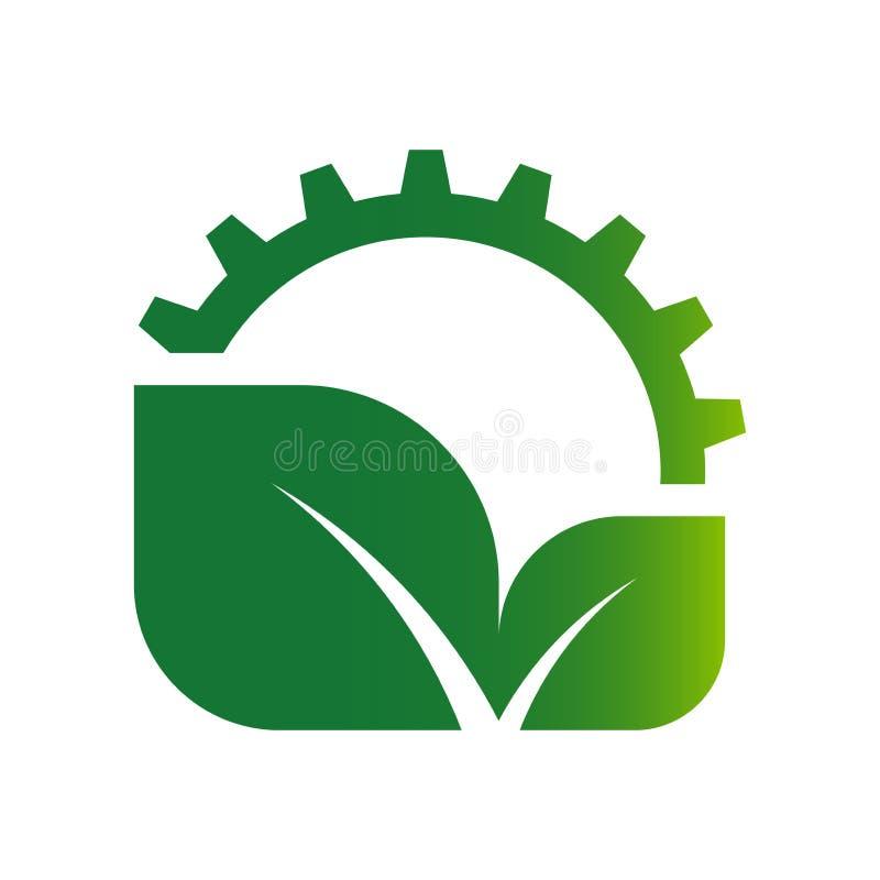 Логотип шестерни и лист экологичности иллюстрация вектора