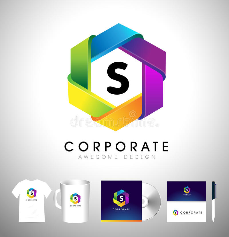 Логотип шестиугольника корпоративный Вектор значка шестиугольника иллюстрация штока