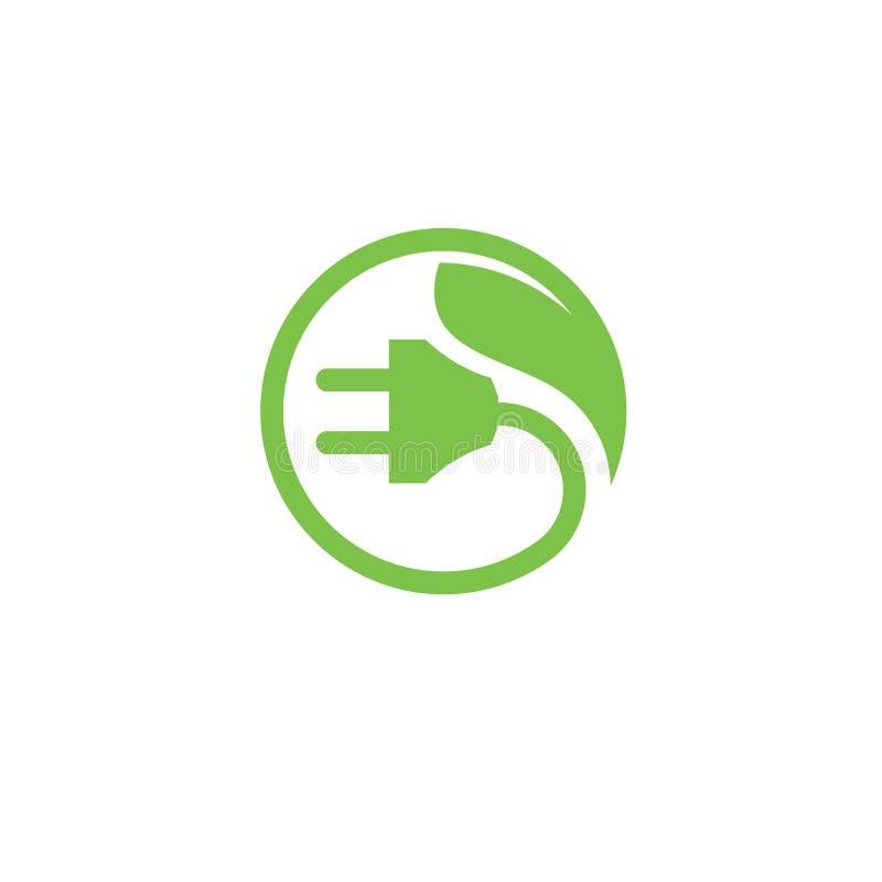 Логотип штепсельной вилки зеленой энергии электрический иллюстрация штока