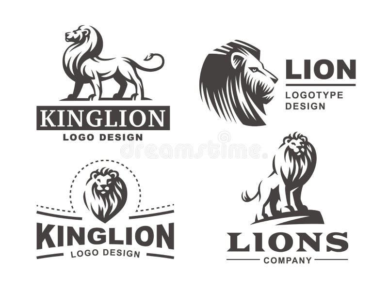 Логотип льва установил - vector иллюстрация, дизайн эмблемы иллюстрация вектора