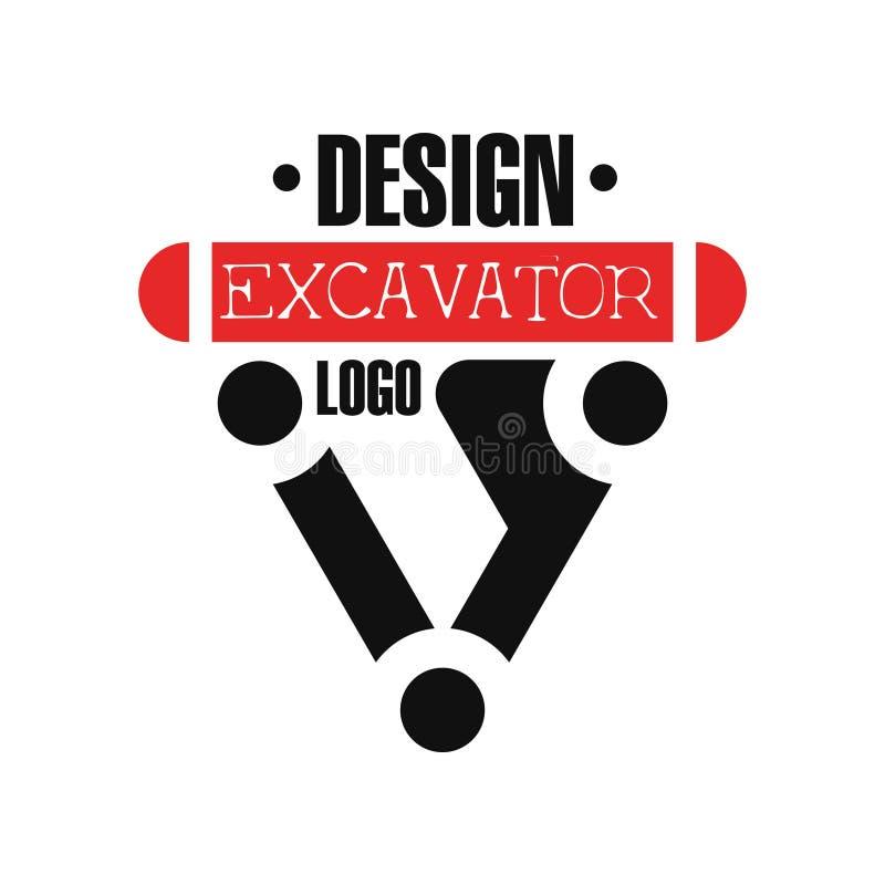 Логотип экскаватора, иллюстрация вектора ярлыка обслуживания backhoe иллюстрация штока