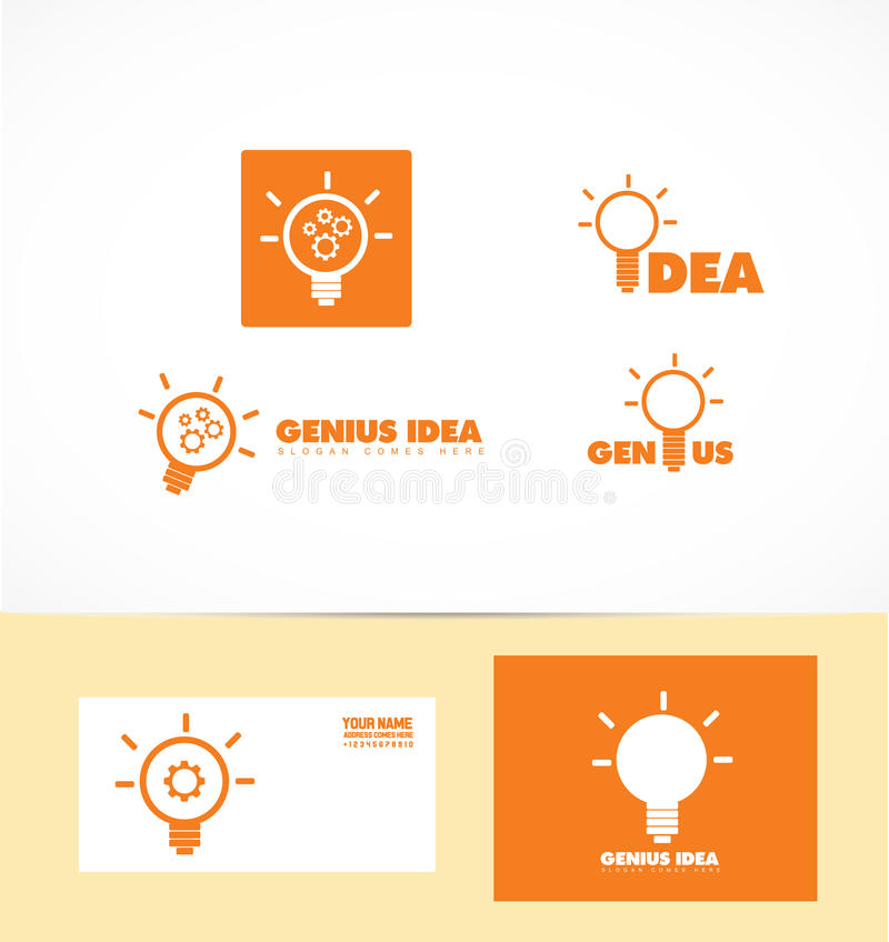 Логотип электрической лампочки идеи гения иллюстрация вектора