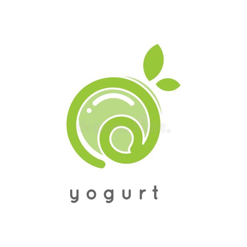 Логотип югурта зеленой природы здоровый иллюстрация штока