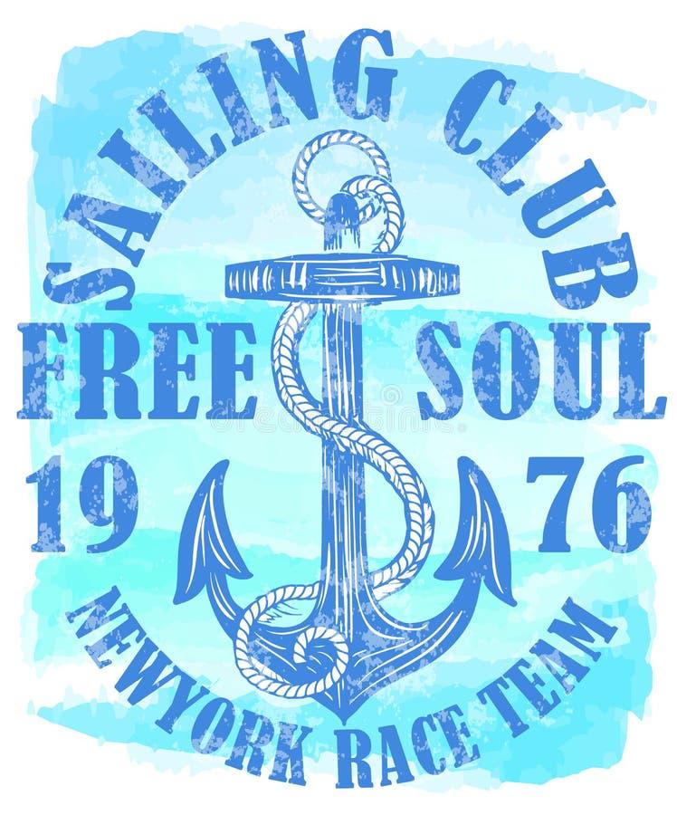 Логотип яхт-клуба с анкером бесплатная иллюстрация