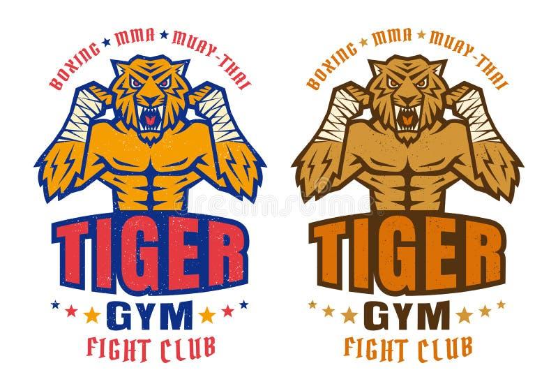 Логотип для воюя клуба с сердитым тигром иллюстрация вектора