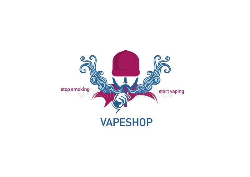 Логотип для человека магазина vape в клобуке иллюстрация штока