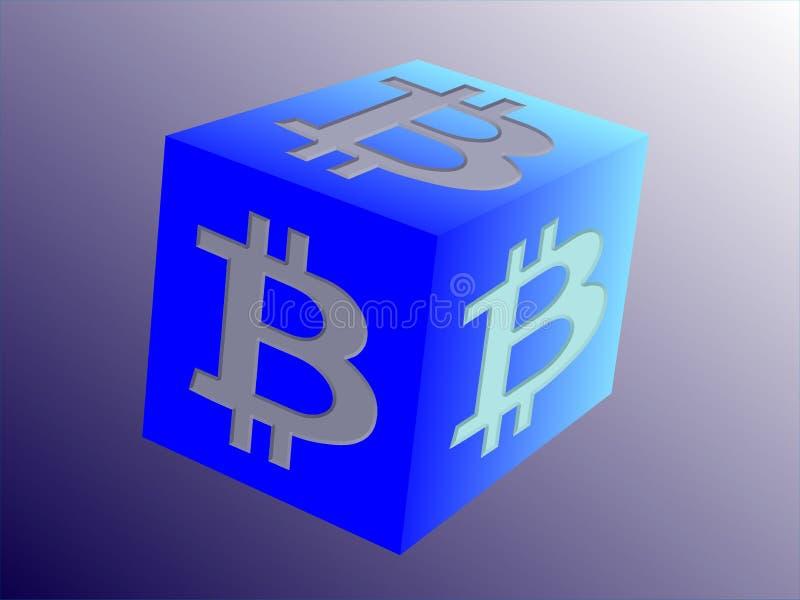 Логотип для Bitcoin связал дело на скошенном кубе - иллюстрация вектора