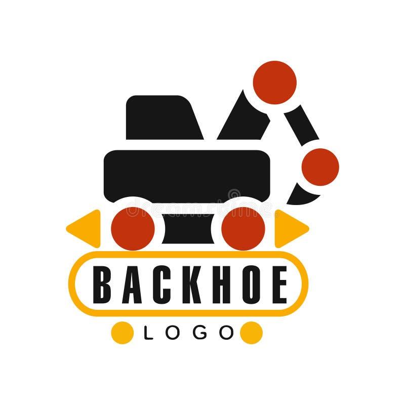 Логотип Backhoe, иллюстрация вектора ярлыка обслуживания оборудования экскаватора иллюстрация штока