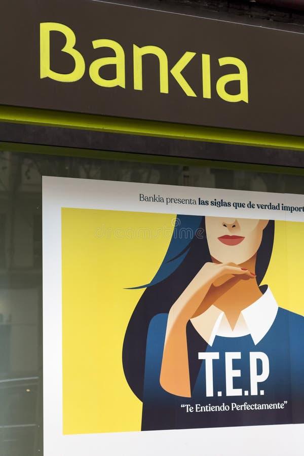 логотип bankia на филиале банка bankia стоковое изображение rf