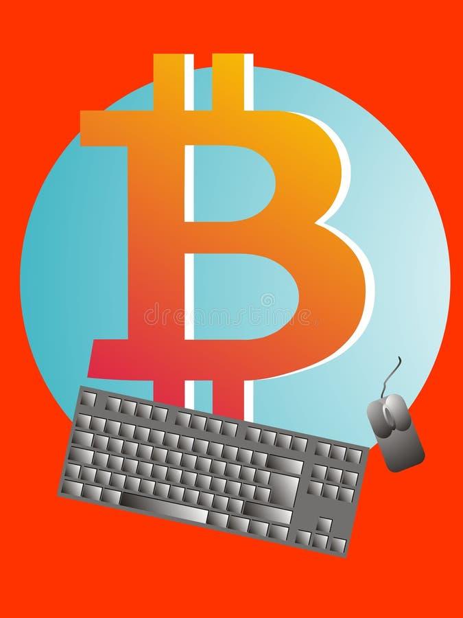 Логотип Bitcoin - клавиатура - мышь иллюстрация штока
