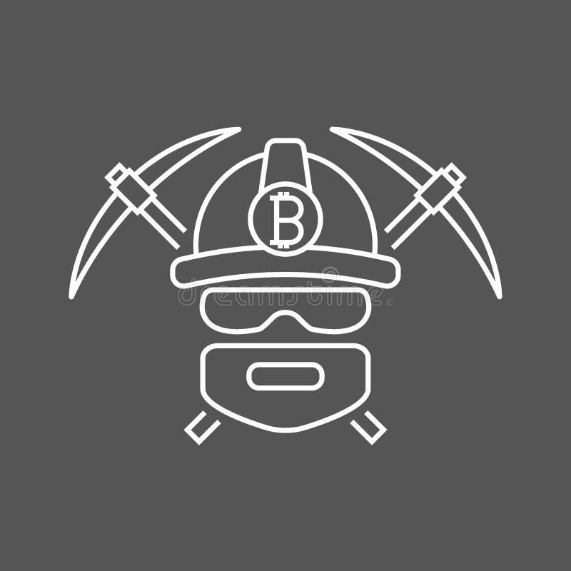 Логотип bitoins горнорабочего Минируя валюты Bitcoin секретные Bitcoin-горнорабочий с обушком 2 r иллюстрация вектора