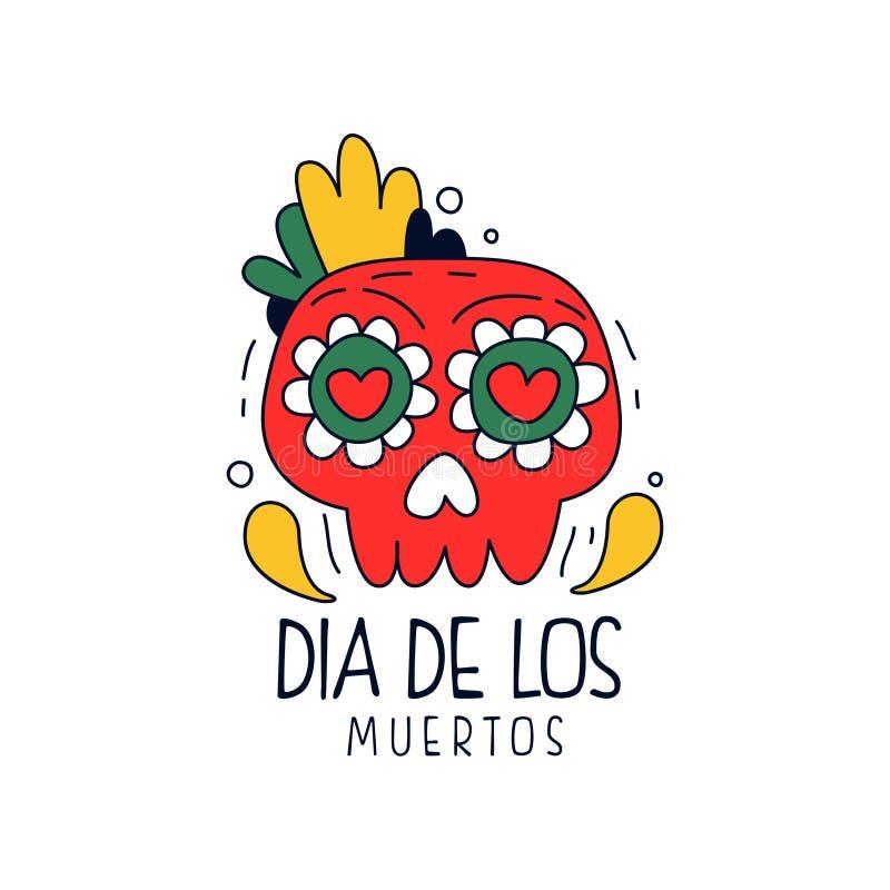 Логотип Dia De Лос Muertos, традиционный мексиканский день мертвого элемента дизайна, знамя украшения партии праздника, приветств иллюстрация вектора