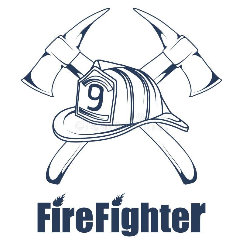 Логотип Firefighting Голова ` s пожарного в маске Ярлык отделения пожарной охраны иллюстрация штока