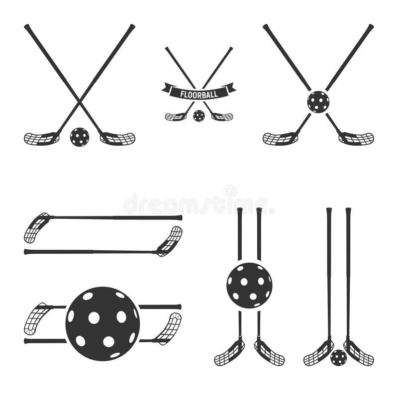 Логотип Floorball для команды и чашки иллюстрация штока