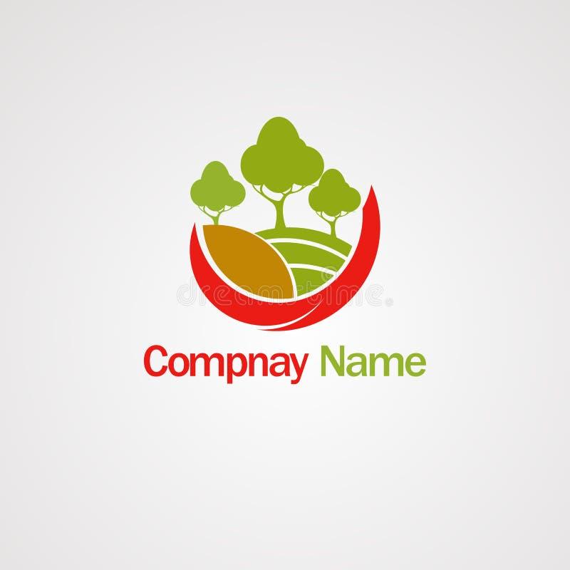 Логотип Flores с вектором, значком, элементом, и шаблоном логотипа дерева для компании бесплатная иллюстрация