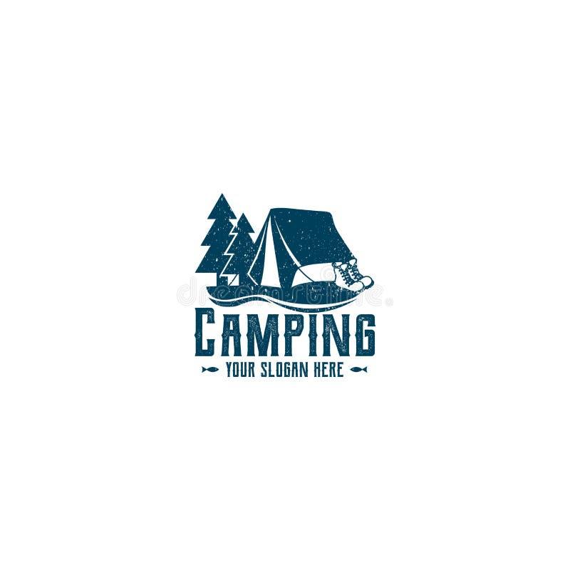 Логотип Grunge для располагаться лагерем Ваш лозунг здесь ослабьте время иллюстрация штока