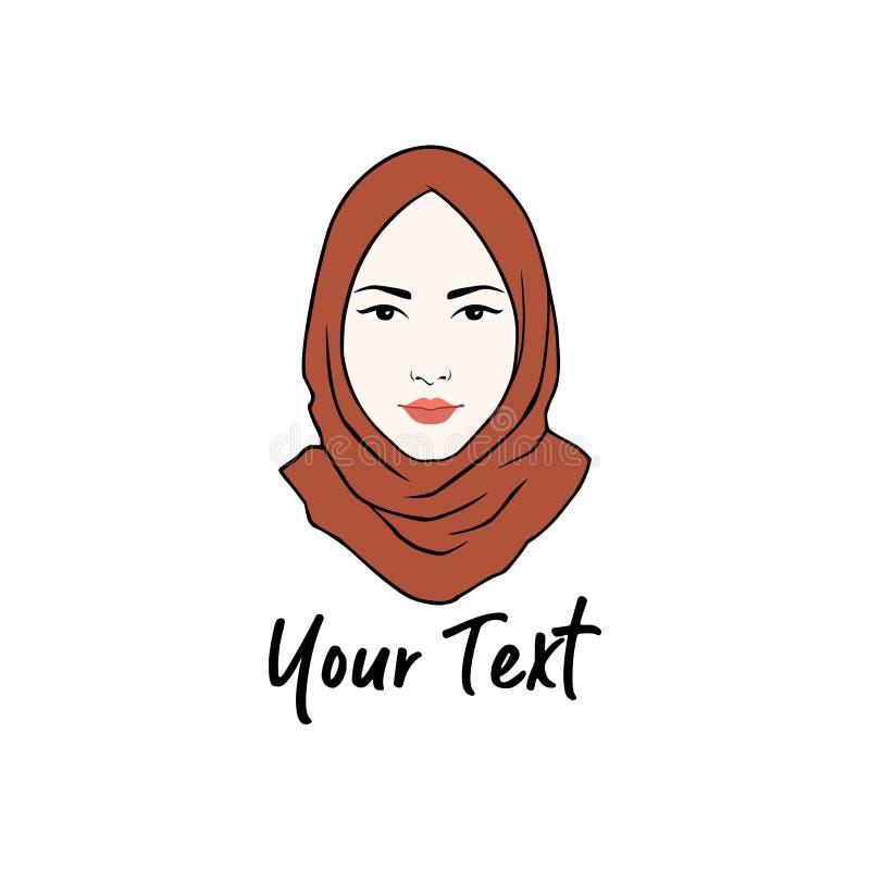 Логотип Hijab Вектор логотипа дизайна молодой прекрасной мусульманской девушки плоский стоковое фото