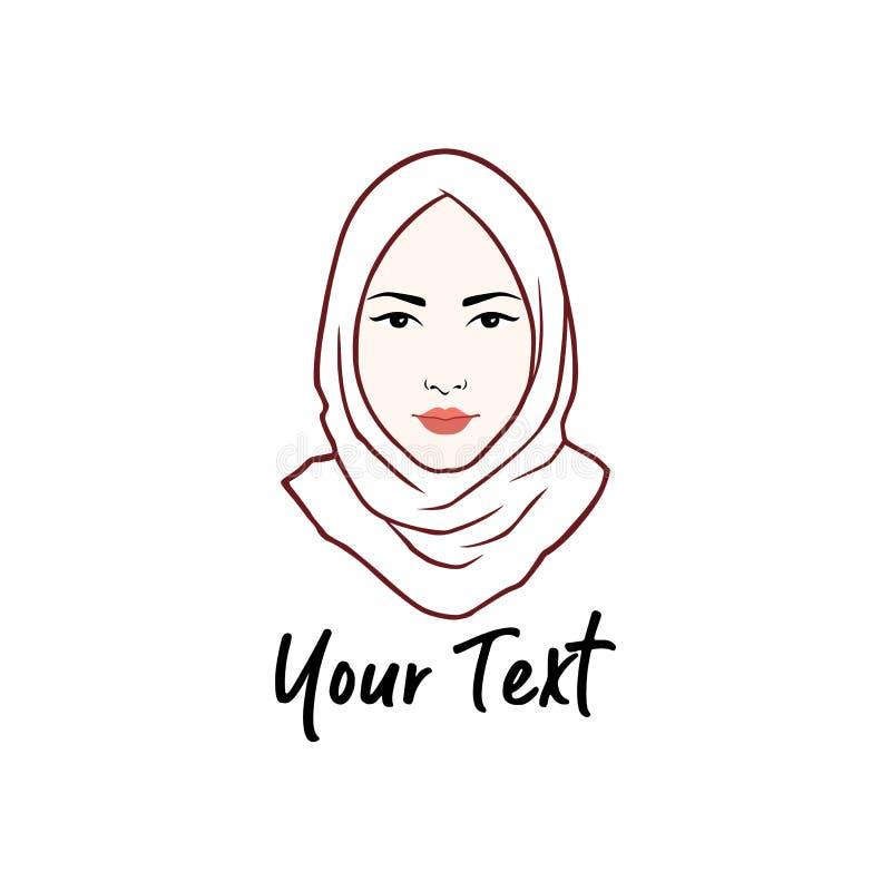 Логотип Hijab Дизайн молодой прекрасной мусульманской девушки плоский, линия вектор логотипа искусства стоковые изображения rf