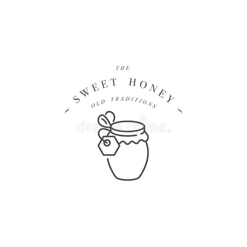Логотип illustartion вектора и шаблон или значок дизайна Бутылка органических и eco меда ярлыка меда линейный стиль иллюстрация вектора