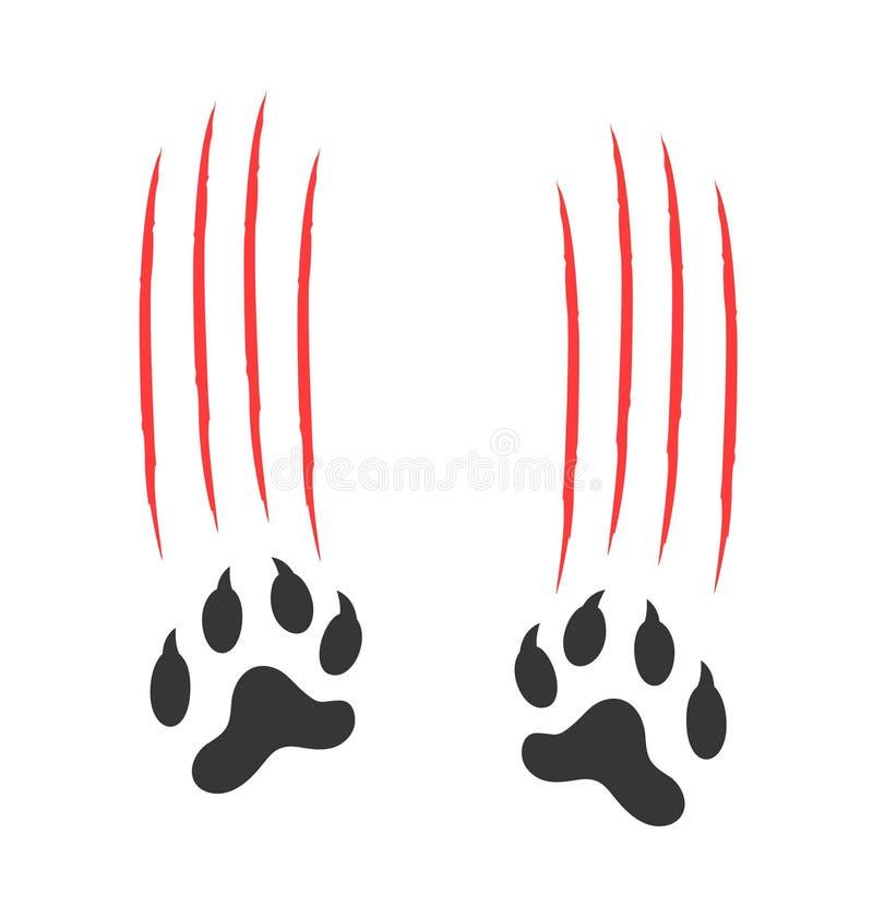 Логотип Paw Print Изолированный отпечаток лапы на белом фоне Тигр бесплатная иллюстрация