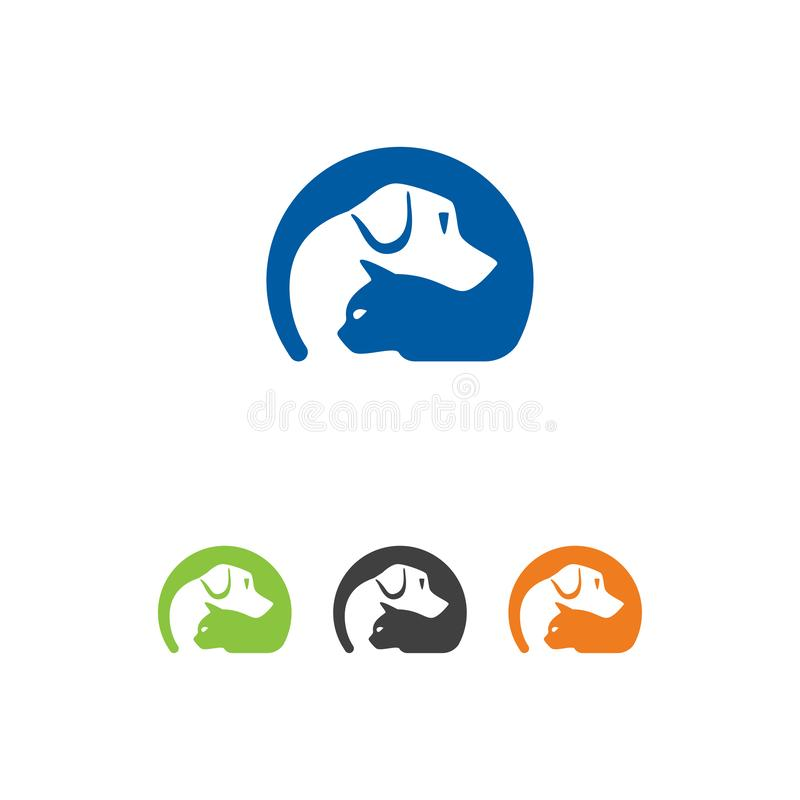 Логотип Pet Care с Dog, Cat, Pet Care Logo Template Design Vector, Emblem, Design Concept, иллюстрация штока