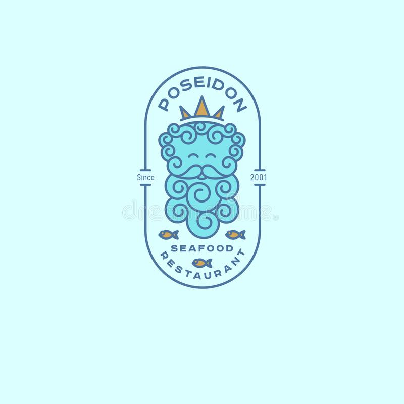 Логотип Poseidon Логотип Нептуна Эмблемы ресторана морепродуктов Poseidon в кроне и рыбах с письмами в овальном значке бесплатная иллюстрация