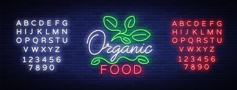 Логотип Vegan в неоновом стиле Неоновый символ, яркий светящий знак, неоновая реклама ночи, вегетарианская еда, органическая еда иллюстрация вектора