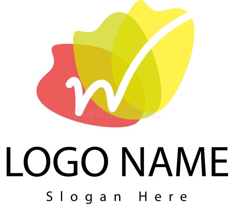Логотип w письма с выплеском воды иллюстрация вектора