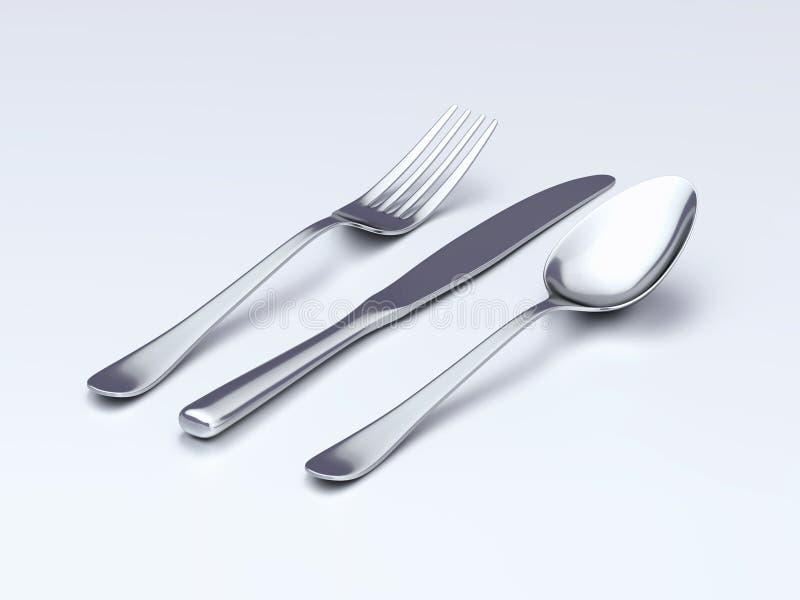 Ложка, вилка, и нож на таблице иллюстрация вектора