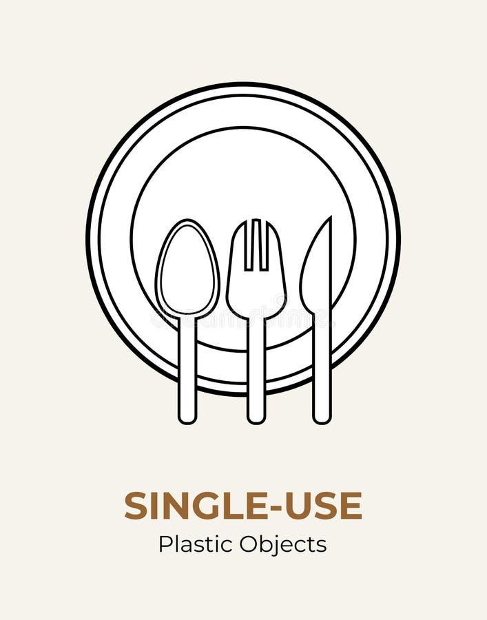 Ложка, вилка, нож, плита r r Столовый прибор еды пластиковый иллюстрация вектора