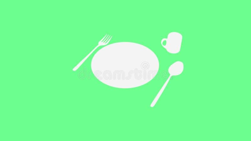 Ложка и вилка и плита и чашка на зеленом цвете иллюстрация штока