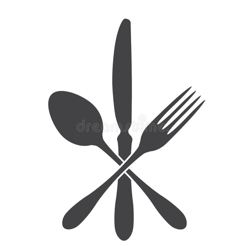 Ложка, нож и вилка - крест бесплатная иллюстрация