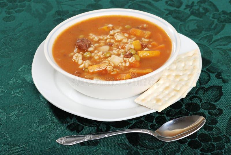 ложка супа говядины ячменя стоковая фотография