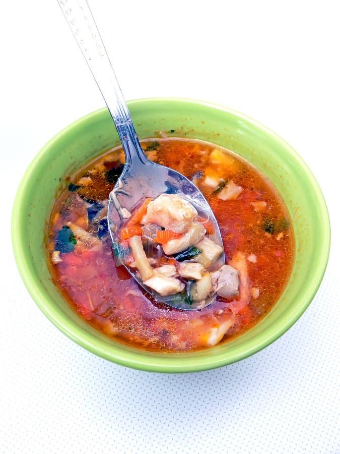 ложка супа рыб стоковые фотографии rf