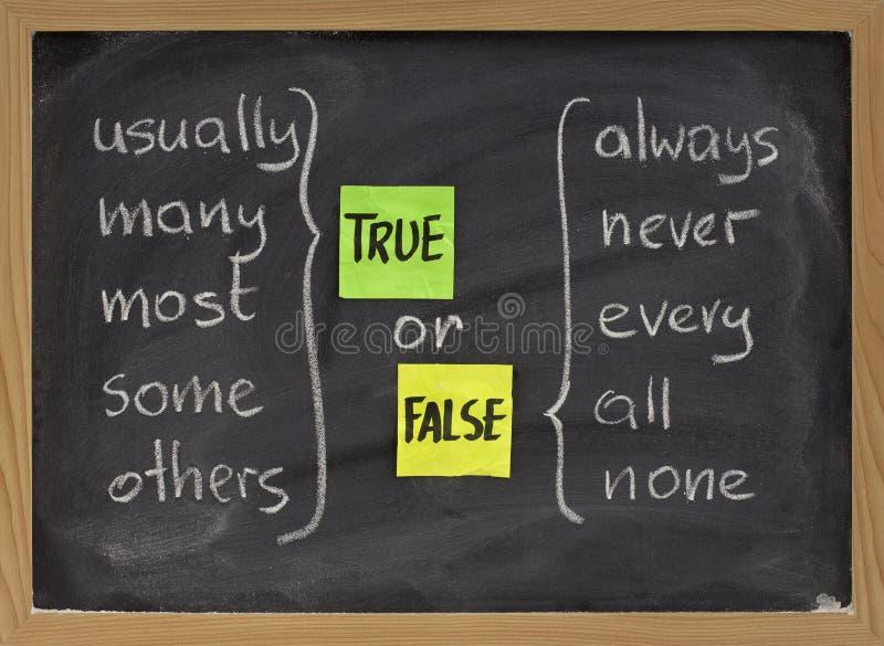 ложные истинные слова стоковое фото rf