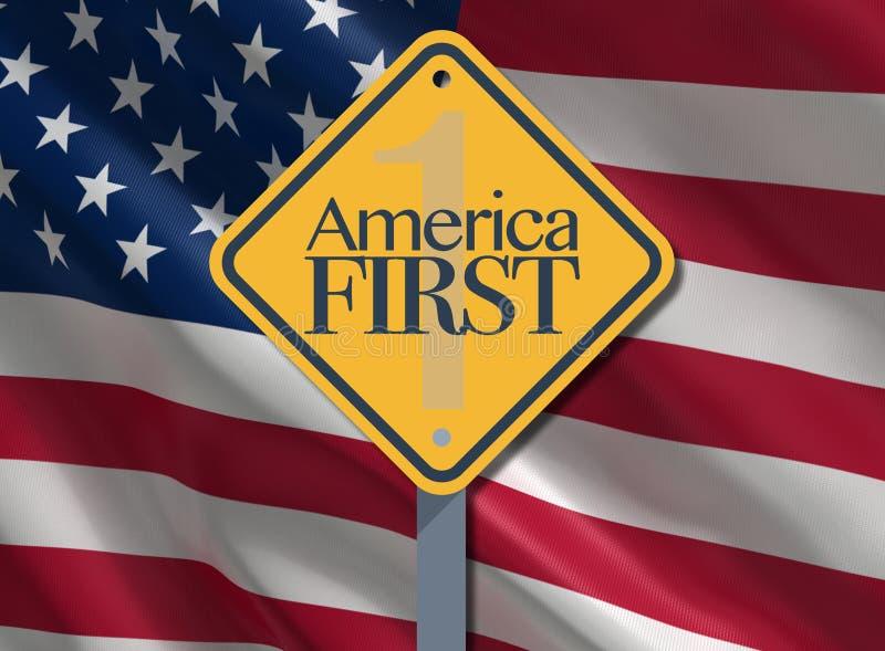 Лозунг Америки во-первых, патриотический иллюстрация вектора