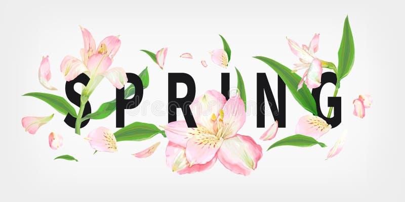 Лозунг весны с цветками иллюстрация вектора