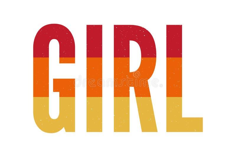 Лозунг девушки с ярким блеском золота для футболки моды иллюстрация штока