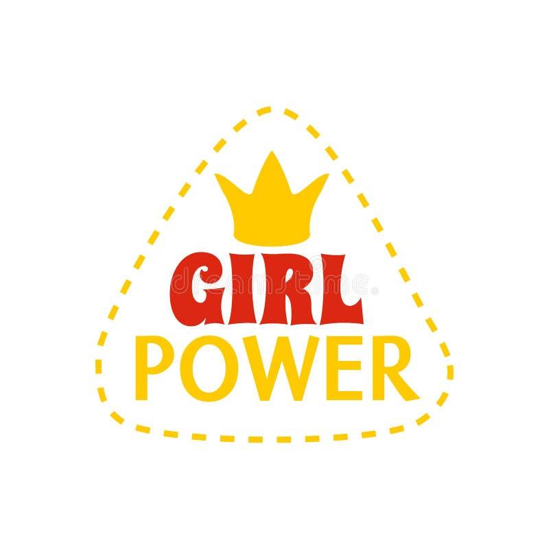 Лозунг или заплата феминизма цвета шаржа вектор иллюстрация штока