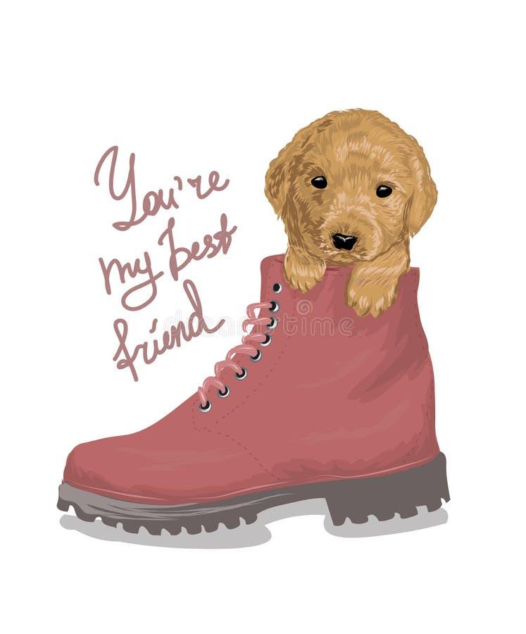 Лозунг лучшего друга с щенком в иллюстрации ботинка Улучшите для оформления как плакаты, искусства стены, сумки tote, печати футб иллюстрация штока