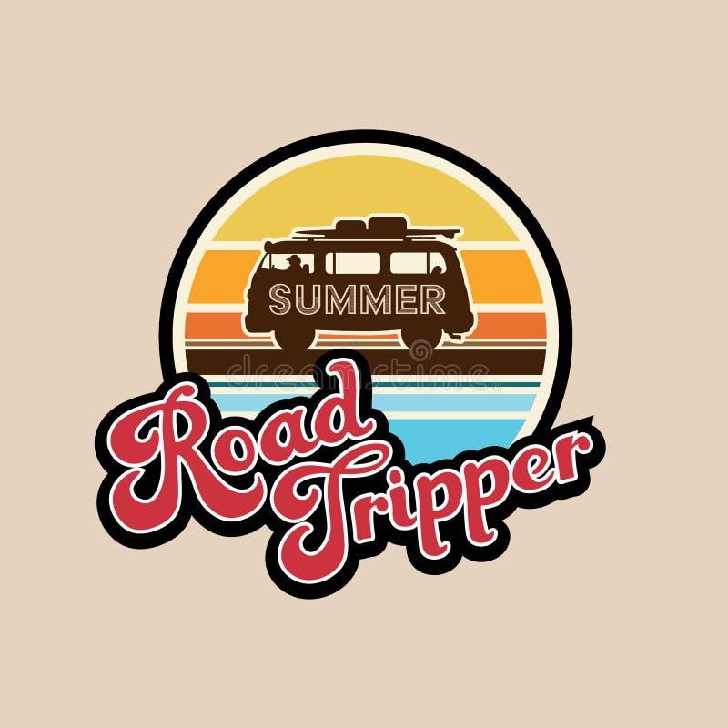 Лозунг опрокидывателя дороги лета, оформление, график футболки, напечатал дизайн иллюстрация штока