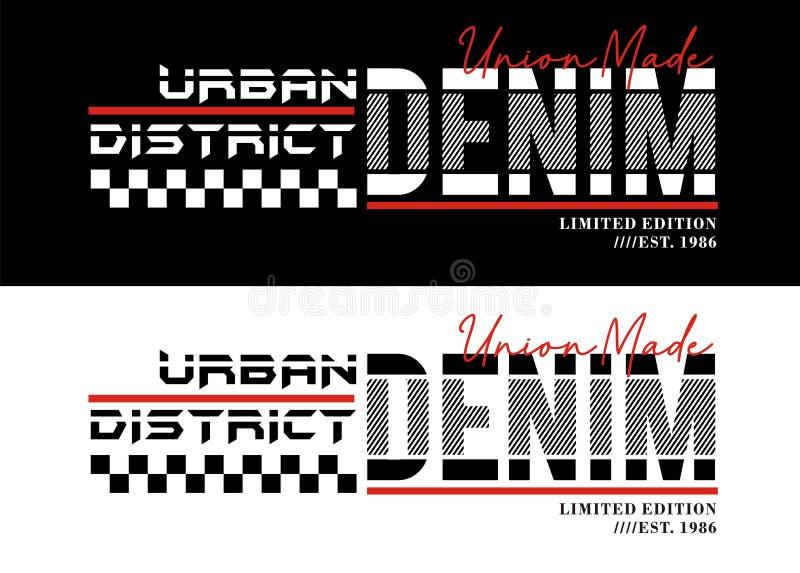 Лозунг оформления, городской спорт джинсовой ткани, для графиков печати футболки, эмблема, векторы бесплатная иллюстрация