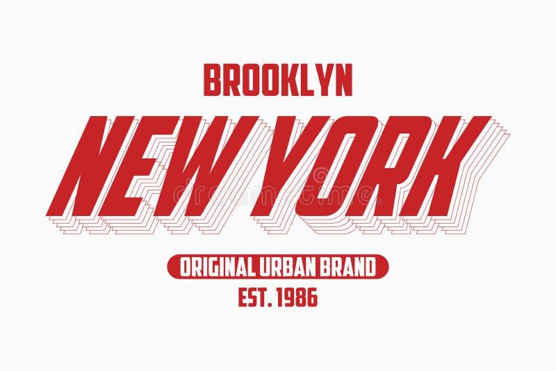 Лозунг оформления Нью-Йорка современный для футболки Графики футболки Бруклина, городская печать бренда вектор иллюстрация вектора