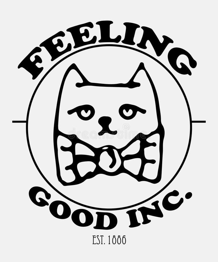 Лозунг оформления с милым вектором кота для печатания и вышивки футболки, графического тройника и напечатанного тройника иллюстрация вектора