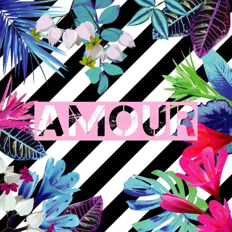 Лозунг любов Тропическая экзотическая флористическая striped печать иллюстрация штока