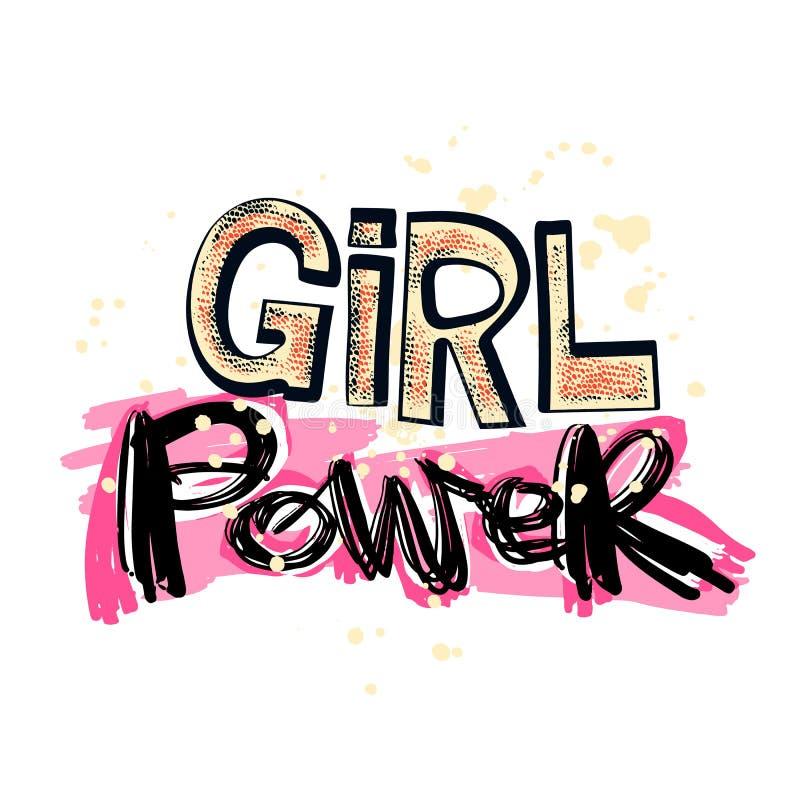 Лозунг powerfeminism девушки с мотивировкой нарисованной литерностью p руки бесплатная иллюстрация