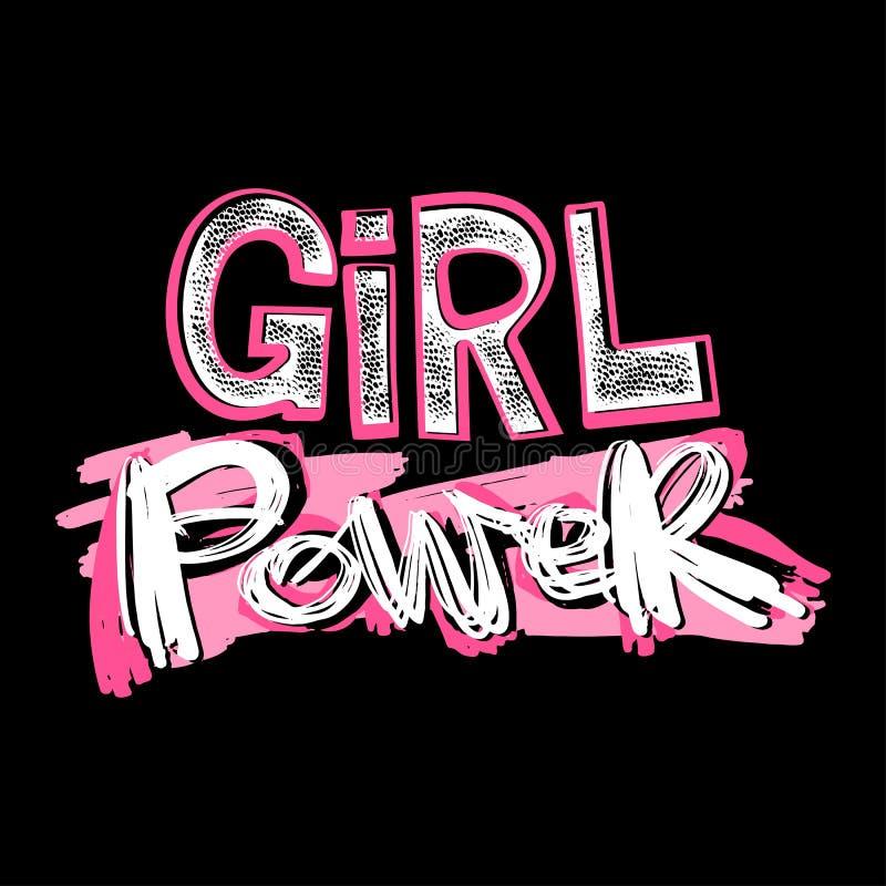 Лозунг powerfeminism девушки с мотивировкой нарисованной литерностью p руки иллюстрация штока