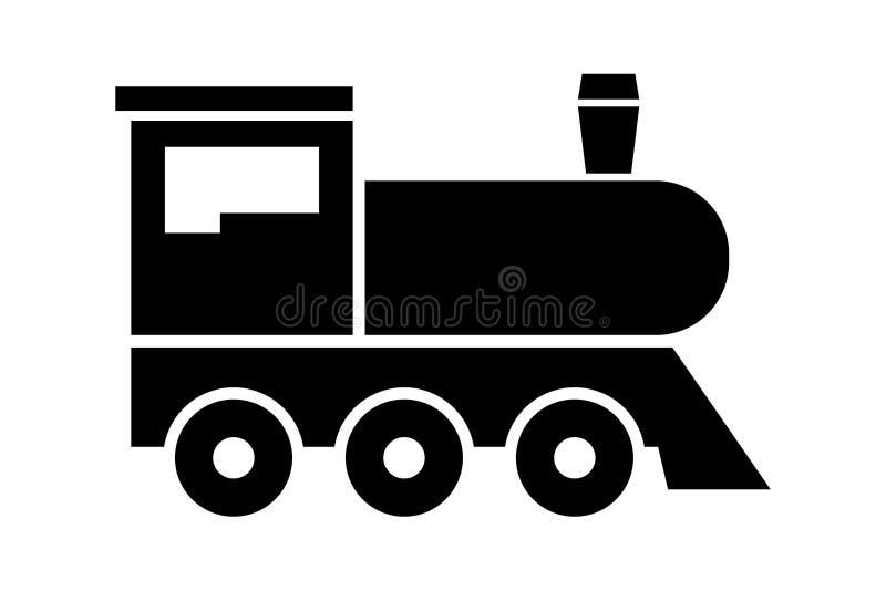 Локомотивный значок на белой предпосылке Винтажный знак поезда Зуб локомотива пара также вектор иллюстрации притяжки corel бесплатная иллюстрация