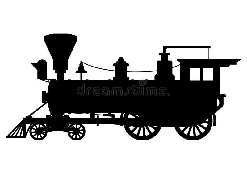 Локомотив пара силуэта иллюстрация штока