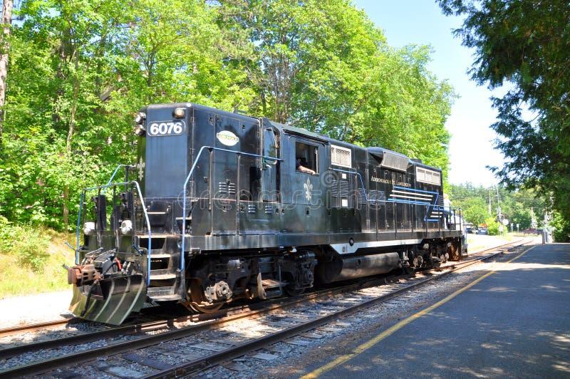Локомотив Adirondack сценарный железнодорожный в озере Saranac, NY стоковые фотографии rf